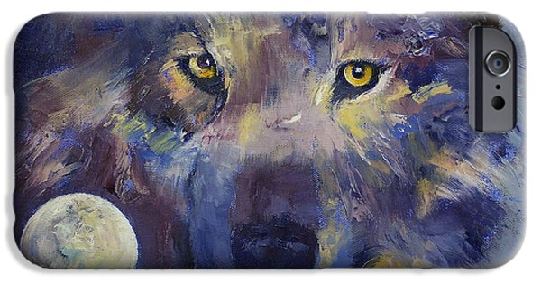 Michael iPhone Cases - Grey Wolf Moon iPhone Case by Michael Creese