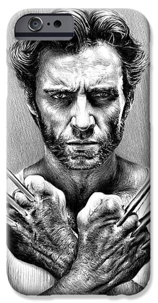Science Fiction Drawings iPhone Cases - Wolverine iPhone Case by Andrew Read