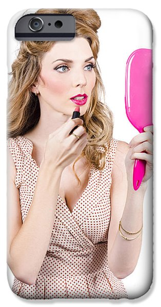 Bare Shoulder iPhone Cases - Woman applying lip makeup with cosmetics mirror iPhone Case by Ryan Jorgensen