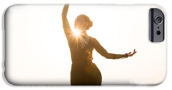 Morning iPhone Cases - Woman dancing at sunrise iPhone Case by Nikita Buida