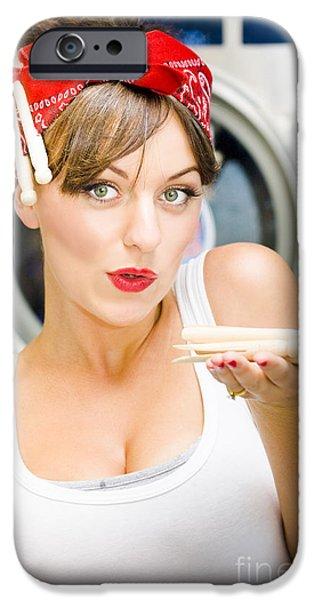 Hair-washing iPhone Cases - Woman Doing Washing iPhone Case by Ryan Jorgensen