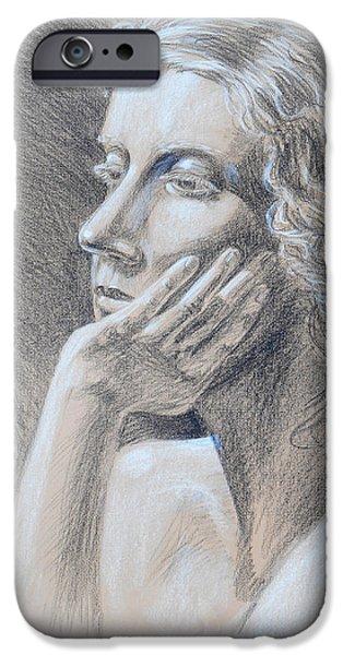 Feminine Drawings iPhone Cases - Woman Head Study iPhone Case by Irina Sztukowski