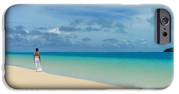 Getting Away From It All iPhone Cases - Woman In Distance On Sandbar, Aitutaki iPhone Case by Panoramic Images