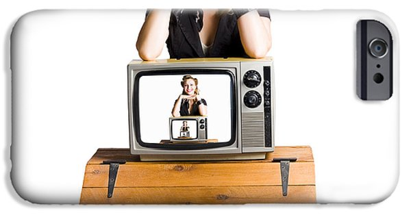 1950s Portraits iPhone Cases - Woman  in front of TV camera iPhone Case by Ryan Jorgensen