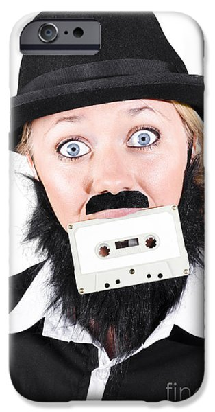Multimedia iPhone Cases - Woman In Male Costume Holding Cassette In Mouth iPhone Case by Ryan Jorgensen