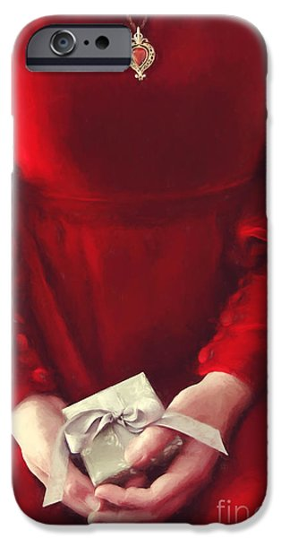 Young Digital Art iPhone Cases - Woman in red dress holding gift/ digital painting iPhone Case by Sandra Cunningham