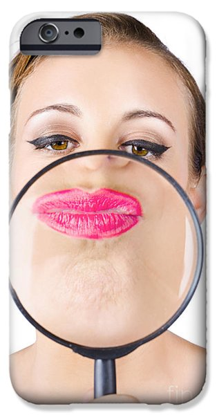 Youthful iPhone Cases - Woman kissing magnifying glass iPhone Case by Ryan Jorgensen