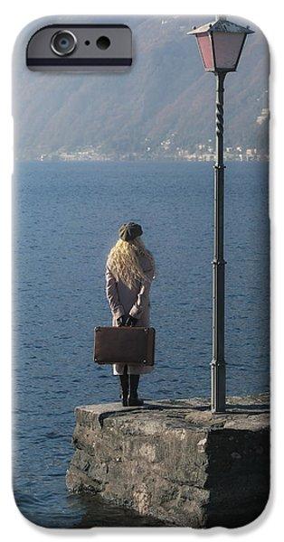 woman on jetty iPhone Case by Joana Kruse