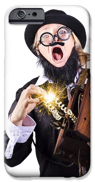 Sparking iPhone Cases - Woman shocked by antique phone iPhone Case by Ryan Jorgensen