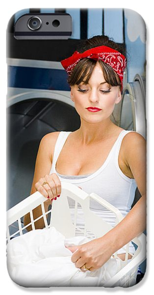 Washing Machine iPhone Cases - Woman Washing Clothes iPhone Case by Ryan Jorgensen