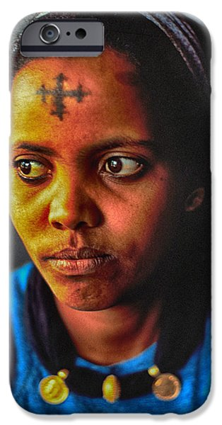 Ethiopian Woman iPhone Cases - Woman with Coptic Cross Tattoo iPhone Case by Carl Purcell