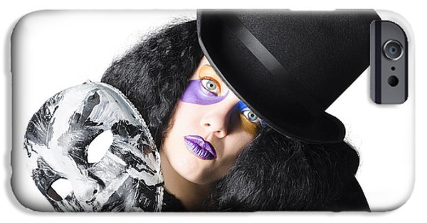 Mystifying iPhone Cases - Woman with mask iPhone Case by Ryan Jorgensen