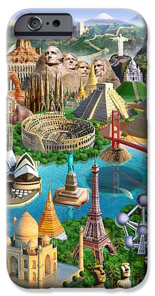 Cultural Icon iPhone Cases - Wonders Of The World iPhone Case by Adrian Chesterman