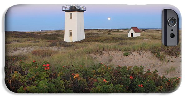 Cape Cod National Seashore iPhone Cases - Wood End Lighthouse Cape Cod Moonrise iPhone Case by John Burk