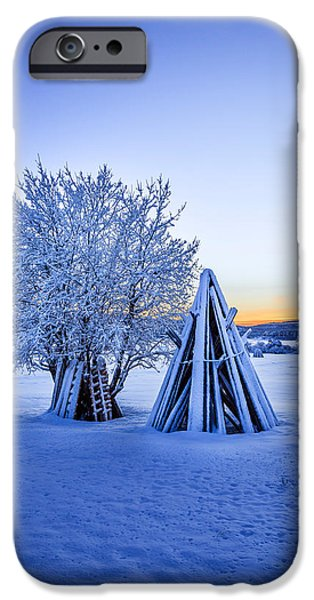Lapland iPhone Cases - Wood Stacked And A Snow Covered Tree iPhone Case by Panoramic Images