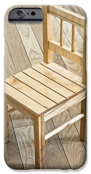 Furniture iPhone Cases - Wooden chair iPhone Case by Tom Gowanlock