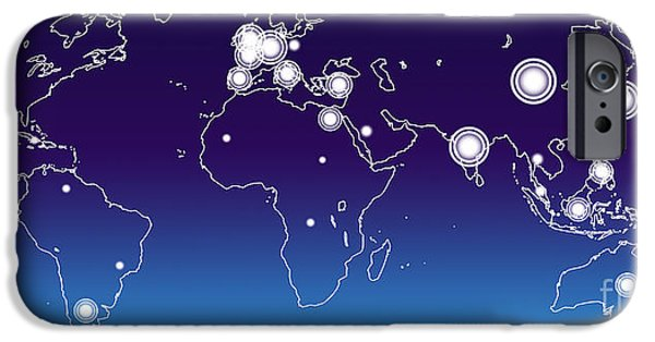 Cyberspace iPhone Cases - World Economies Map iPhone Case by Atiketta Sangasaeng