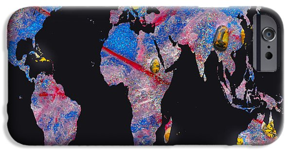 Constellations iPhone Cases - World Map and Airies Constellation iPhone Case by Augusta Stylianou