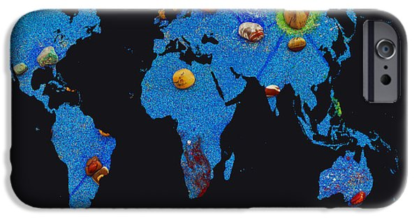 Constellations iPhone Cases - World Map and Aquarius Constellation iPhone Case by Augusta Stylianou