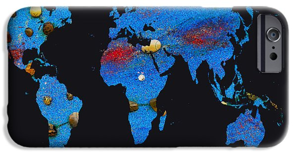Constellations iPhone Cases - World Map and Pisces Constellation iPhone Case by Augusta Stylianou