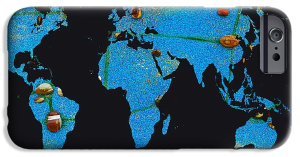 Constellations iPhone Cases - World Map and Virgo Constellation iPhone Case by Augusta Stylianou
