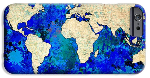 Decorative Digital Art iPhone Cases - World Map Blue iPhone Case by Gary Grayson
