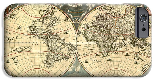 Antique Map Digital Art iPhone Cases - World Map iPhone Case by Gary Grayson