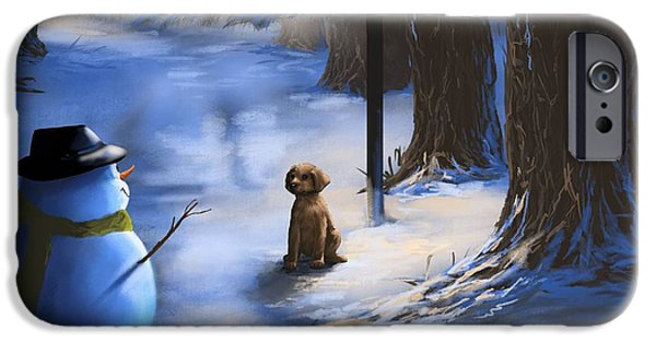 Snowy Night iPhone Cases - Would you like to play? iPhone Case by Veronica Minozzi