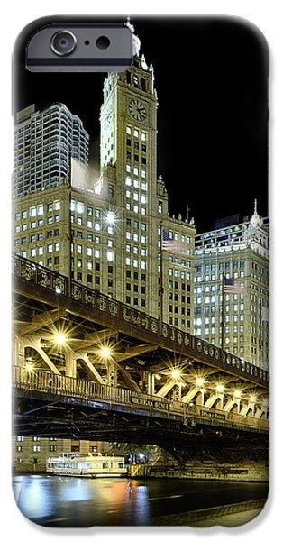 Boat iPhone Cases - Wrigley Building At Night iPhone Case by Sebastian Musial