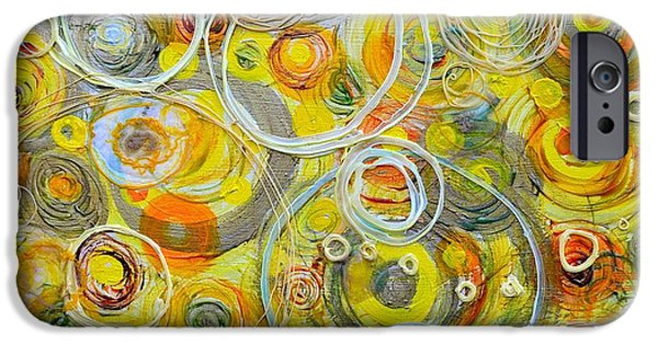 Counterpoint iPhone Cases - Yellow Counterpoint iPhone Case by Regina Valluzzi