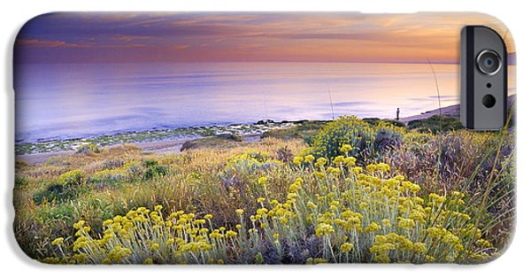 Malaga iPhone Cases - Yellow flowers at the sea iPhone Case by Guido Montanes Castillo
