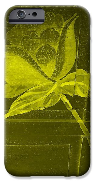 Botanic Illustration Digital Art iPhone Cases - Yellow Negative Wood Flower iPhone Case by Rob Hans