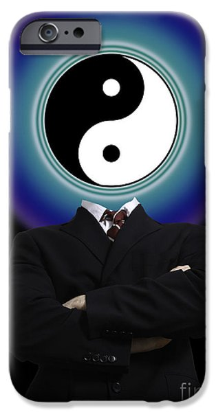 Opposing Forces iPhone Cases - Yin Yang In A Man iPhone Case by Monica Schroeder