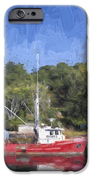 Maine iPhone Cases - York Harbor Maine Painterly Effect iPhone Case by Carol Leigh