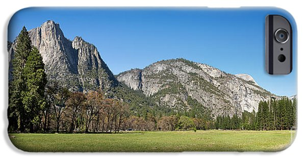 Meadow iPhone Cases - Yosemite Meadow panorama iPhone Case by Jane Rix