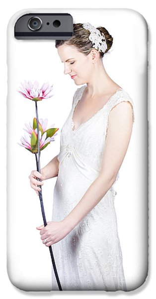 Youthful iPhone Cases - Young bride with flowers iPhone Case by Ryan Jorgensen