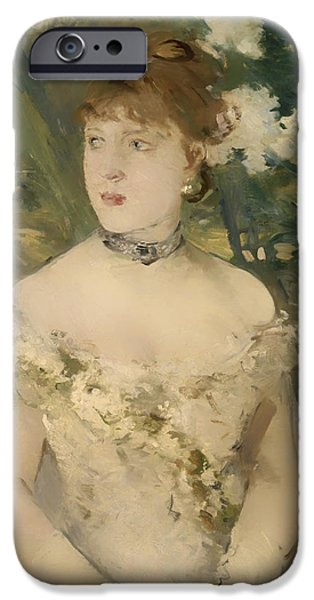 Ball Gown iPhone Cases - Young Girl in a Ball Gown iPhone Case by Berthe Morisot