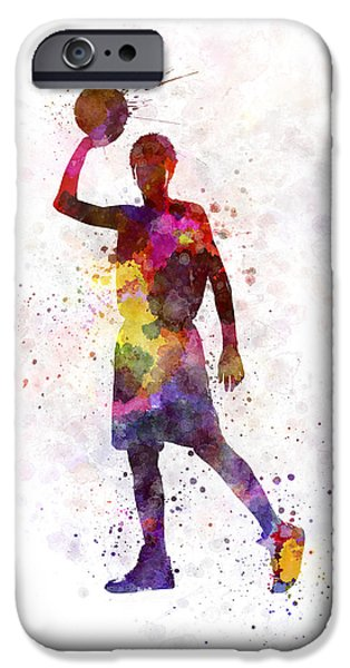 Basketball Paintings iPhone Cases - Young Man Basketball Player iPhone Case by Pablo Romero