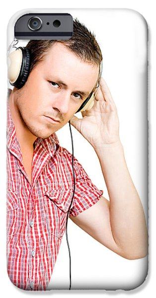 Absorb iPhone Cases - Young man wearing headphones iPhone Case by Ryan Jorgensen