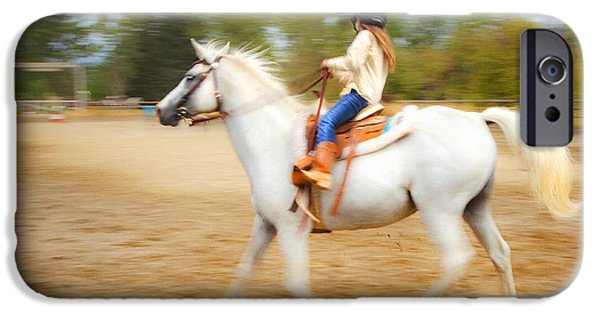 Action Shot iPhone Cases - Young Rider iPhone Case by Theresa Tahara