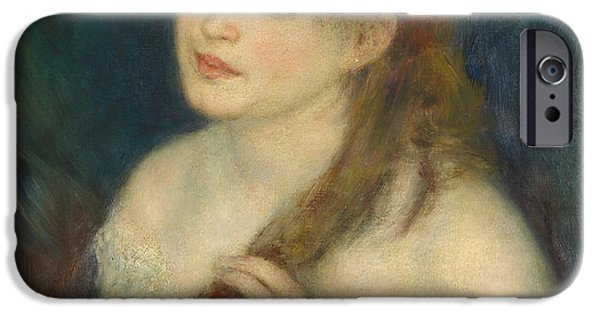 1876 Paintings iPhone Cases - Young Woman Braiding Her Hair iPhone Case by Auguste Renoir