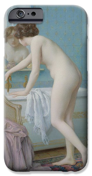 Feminine Pastels iPhone Cases - Young Woman Preparing her Bath iPhone Case by Jules Scalbert