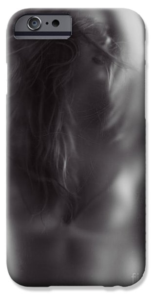 Disorder iPhone Cases - Young woman trapped behind glass iPhone Case by Oleksiy Maksymenko