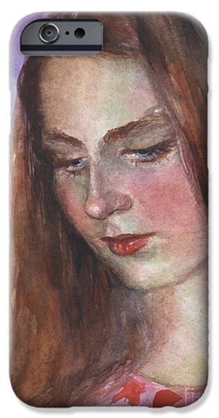 Vibrant Colors Drawings iPhone Cases - Young woman watercolor portrait painting iPhone Case by Svetlana Novikova