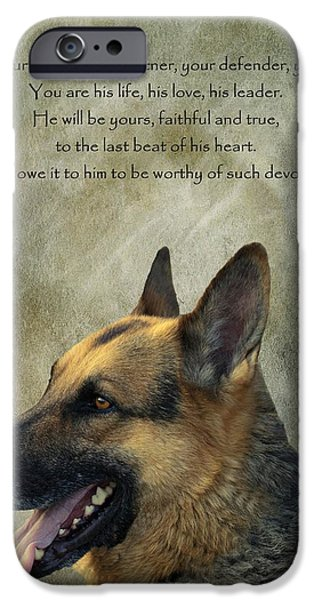 Dogs Digital Art iPhone Cases - Your Friend Your Partner Your Defender iPhone Case by David Dehner