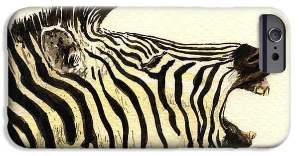 Nature Study Paintings iPhone Cases - Zebra head study iPhone Case by Juan  Bosco