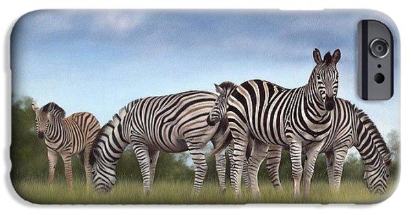 Zebra iPhone Cases - Zebras iPhone Case by Rachel Stribbling