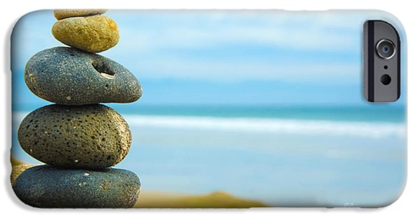 Concept Photographs iPhone Cases - Zen Stone stacked together iPhone Case by Aged Pixel