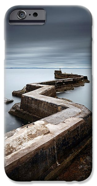 North Sea iPhone Cases - Zig-zag pier iPhone Case by Grant Glendinning