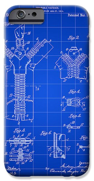 Electrical iPhone Cases - Zipper Patent 1914 - Blue iPhone Case by Stephen Younts